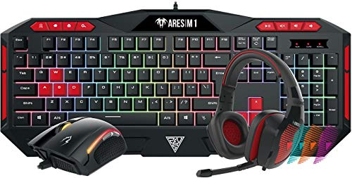 Gamdias Poseidon M1 Gaming Keyboard, Mouse and Headset Combo (Black and Red)